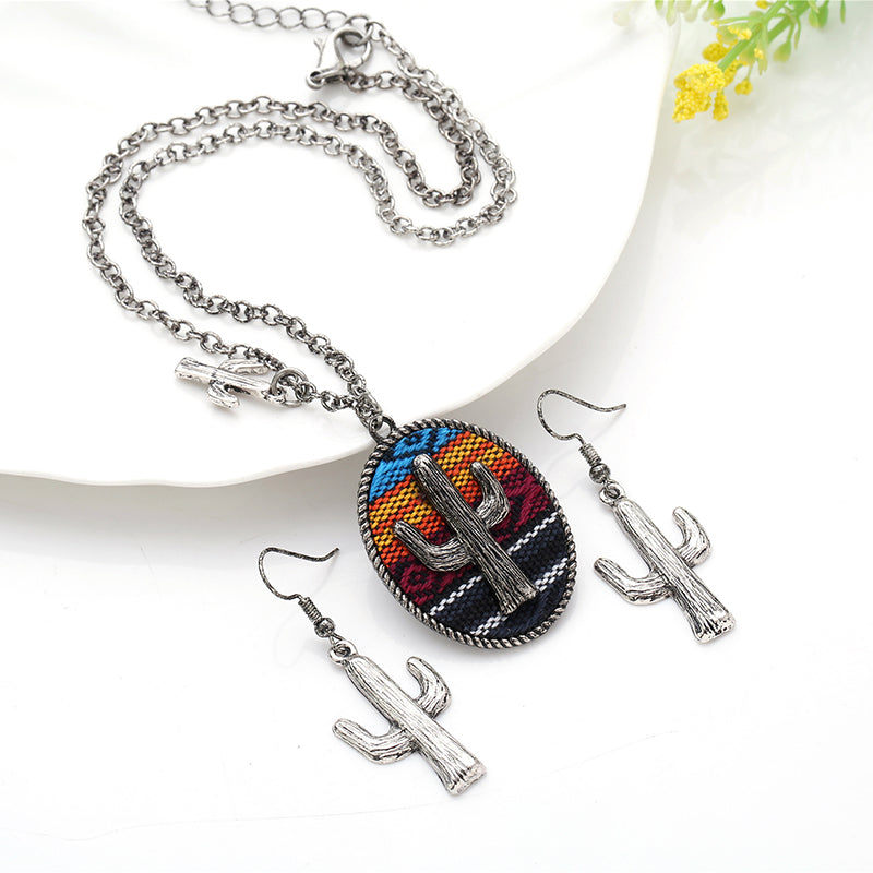 Serape Silver Plated Cactus Necklace & Earrings Set
