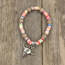 Load image into Gallery viewer, Handmade Candy Color Multilayer Beads and Cow Skull Bracelet
