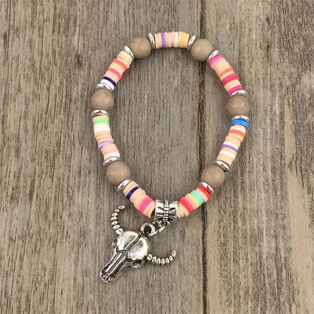 Handmade Candy Color Multilayer Beads and Cow Skull Bracelet