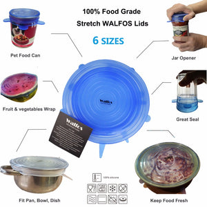 WALFOS Food Grade Silicon Stretch Container Lids - 6 Sizes Set