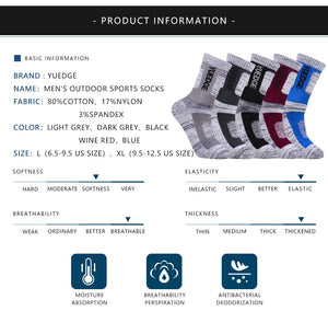 YUEDGE 5 Pairs Men's Cotton Cushion Outdoor Crew Socks
