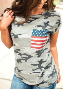 Women's American Flag Pocket and Camouflage T-Shirt