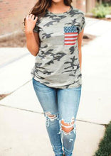 Load image into Gallery viewer, Women's American Flag Pocket and Camouflage T-Shirt