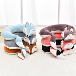 Lovely Fox Cotton Plush U-Shape Travel Neck Pillow