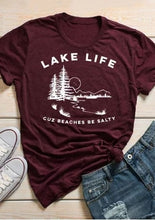 Load image into Gallery viewer, Burgundy Lake Life Cuz Beaches Be Salty T-Shirt - Omigod, Dibs!™