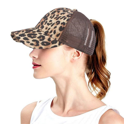 Adjustable Leopard Print Ponytail Trucker Cap - Omigod, Dibs!™