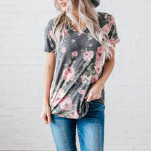Load image into Gallery viewer, Women's Floral V-Neck T-Shirt