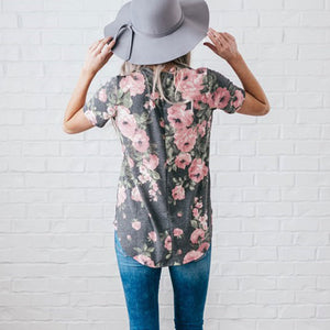 Women's Floral V-Neck T-Shirt