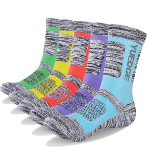 YUEDGE Women's Colored Gray Cotton Cushion Outdoor Crew Socks