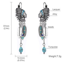 Load image into Gallery viewer, Native American & Turquoise Resin Stone Dangle Earrings