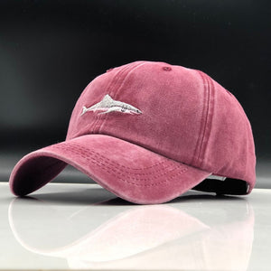 Cotton Washed Shark Embroidered Cap - Omigod, Dibs!™