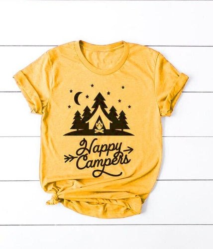 Happy Campers Night Camp Scene T-Shirt