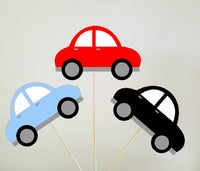 Car Cupcake Toppers, Red Car, Black Car, Blue Car