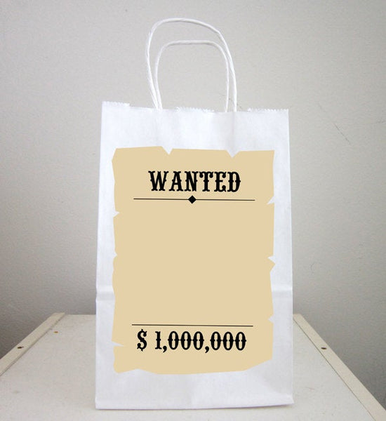 Cowboy Goody Bags, Cowboy Favor Bags, Cowboy Goodie Bags, Cowboy Party Bags, Wanted Sign Favors