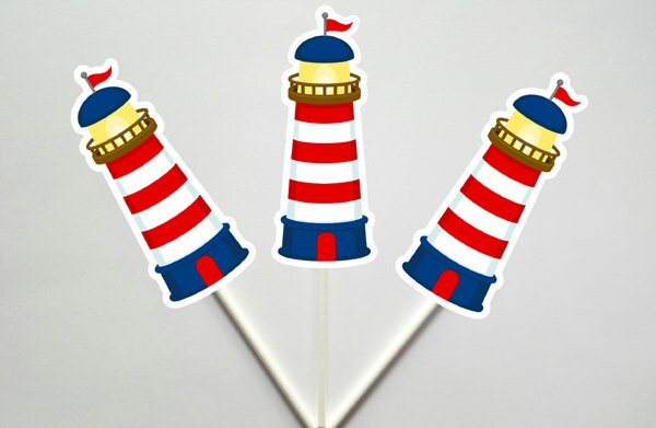Lighthouse Cupcake Toppers, Nautical Cupcake Toppers