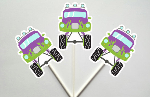 Monster Truck Cupcake Toppers, Purple and Green Monster Truck