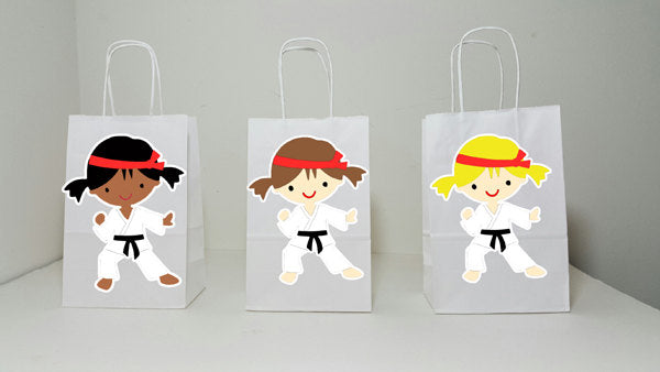 Karate Goody Bags, Karate Girl Goody Bags, Karate Girl Favor Bags, Karate Girl Party Bags, Karate Goodie Bags