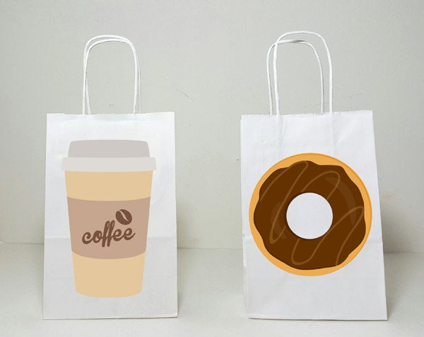 Coffee and Donuts Goody Bags, Coffee and Donuts Favor Bags, Coffee and Donuts Gift Bags,  Coffee Favors, Donut Favors