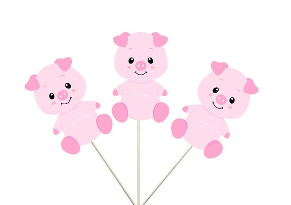 Pig Cupcake Toppers, Farm Animal Cupcake Toppers, Farm Birthday Cupcake Toppers, Animal Cupcake Toppers. Item# 81916140A
