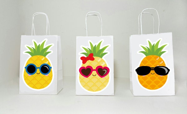 Pineapple Goody Bags, Luau Goody Bags, Hawaii Goody Bags, Tiki Goody Bags, Girls Luau