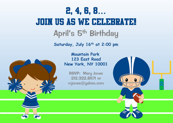 Cheerleader Birthday Invitation - Cheerleading Birthday Invitation- Football Birthday Invitation