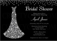 Bridal Shower Invitation, Diamond Bridal Shower Invitation, Diamond Wedding, Bling Wedding, Bling Bridal Shower Invite, Black and Silver