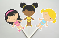 Pool Party Cupcake Toppers, Swimming Cupcake Toppers, Swim Party Cupcake Toppers, Swim Birthday Cupcake Toppers, Beach Party Cupcake Toppers