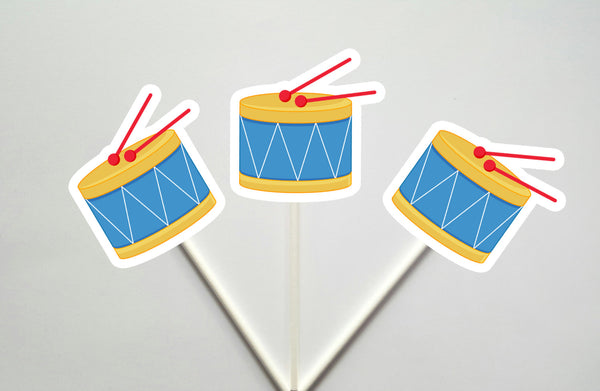 Drum Cupcake Toppers, Music Cupcake Toppers