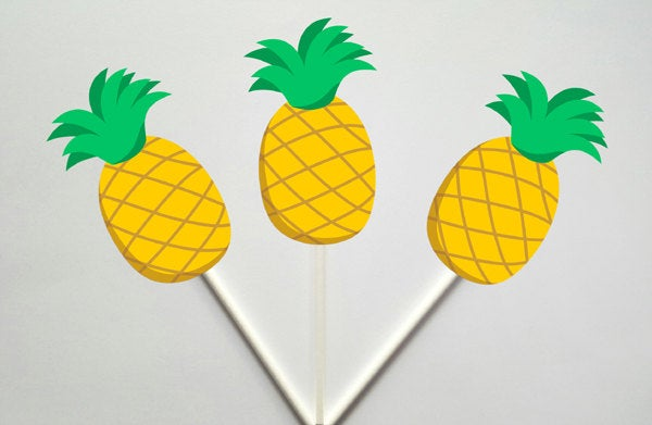 Pineapple Cupcake Toppers, Pineapple Cake Topper, Luau Cupcake Toppers, Fruit Cupcake Toppers, Hawaiian Cupcake Toppers