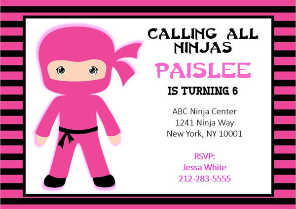 Ninja Birthday Invitation, Girl Ninja Invitation, Girl Ninja Invite, Karate Birthday Invitation - Karate Birthday Invite - Karate Invitation