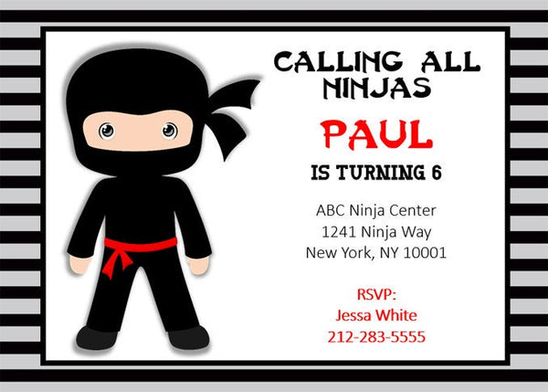 Ninja Birthday Invitation, Ninja Invitation, Ninja Invite, Karate Birthday Invitation - Karate Birthday Invite - Karate Invitation