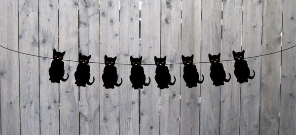 Black Cat Garland, Black Cat Banner, Halloween Garland, Halloween Garland, Black Cat Decorations