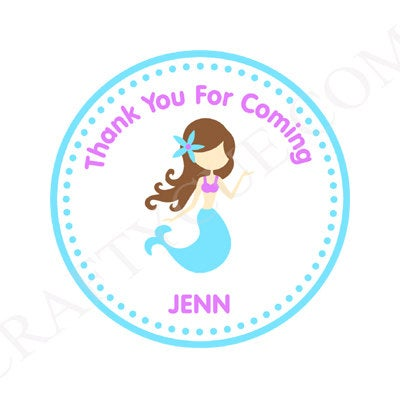 Mermaid Favor Tags, Mermaid Goody Bag Tags, Mermaid Favors