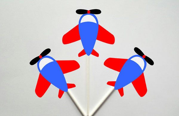 Airplane Cupcake Toppers, Plane Cupcake Toppers, Red, Blue Grey 1224171250A