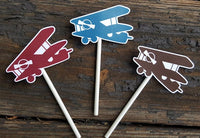 Airplane Cupcake Toppers, Vintage Airplane Cupcake Toppers, Plane Cupcake Toppers, Red, Blue