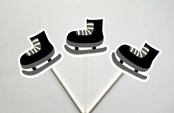 Hockey Cupcake Toppers, Hockey Skate Cupcake Toppers