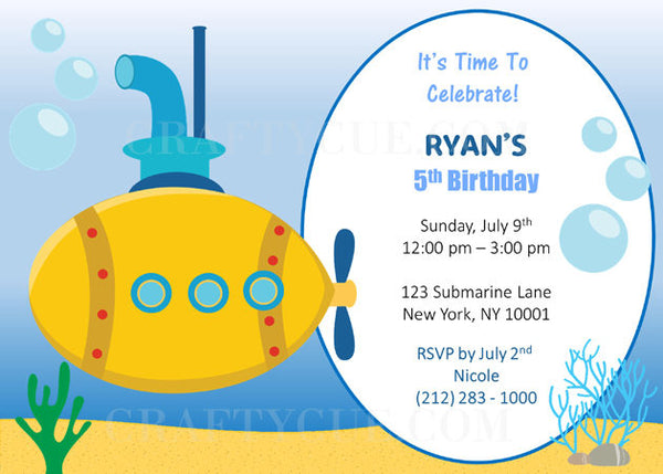 Submarine Birthday Invitation, Submarine Invitation