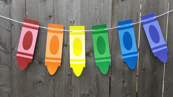 Crayon Banner, Crayon Garland, Crayon Birthday Party, Crayon Decorations, Back to School Party, Teacher's Gift