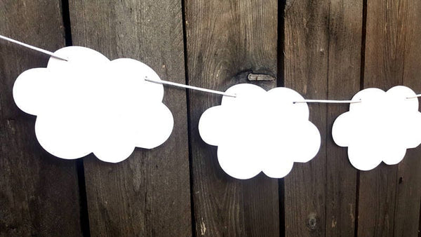Cloud Garland, Cloud Banner, Cloud Nursery Decoration, Cloud Photo Prop