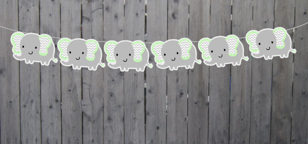 Mint and Grey Elephant Garland, Elephant Banner, Baby Shower Banner, Photo Prop, Elephant Birthday, Elephant Party, Elephant Nursery