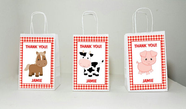 FARM ANIMAL Goody Bags, Cow Goody Bags, Horse Goody Bags, Pig Goody Bag, Farm Birthday Party, farm centerpiece, balloon centerpiece bag