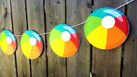 Beach Ball Cupcake Toppers - Beach Cupcake Toppers - Beach Party Cupcake Toppers