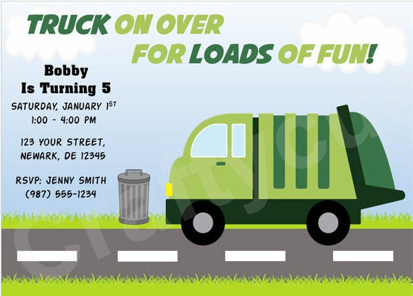 Garbage Truck Birthday Invitation - Garbage Truck Party Invitation - Garbage Truck Invitation