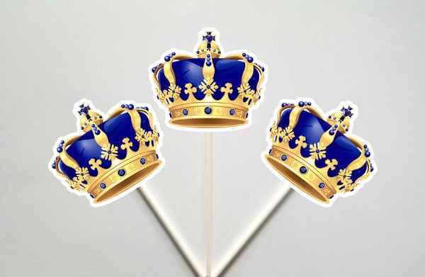 Crown Cupcake Toppers, Prince Baby Shower Cupcake Toppers - Royal Prince Cupcake Toppers with Gold Crowns