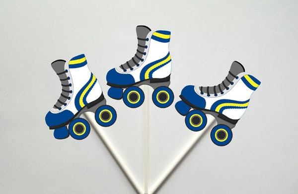 Roller Skate Cupcake Toppers - 80's party, 80's Cupcake Toppers, Birthday party, Colorful Roller Skate Cupcake Toppers (311171121A)
