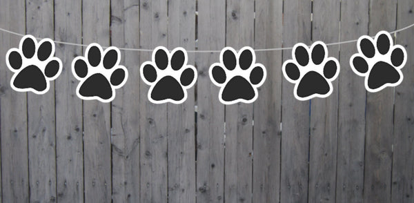 Paw Print Garland, Paw Print Banner, Puppy Party Banner, Dog Party Banner