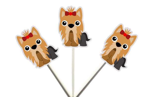 Yorkie Terrier Cupcake Toppers, Yorkie, Puppy Party Cupcake Toppers, Dog Cupcake Toppers, Puppy Birthday, Terrier Cupcake Toppers