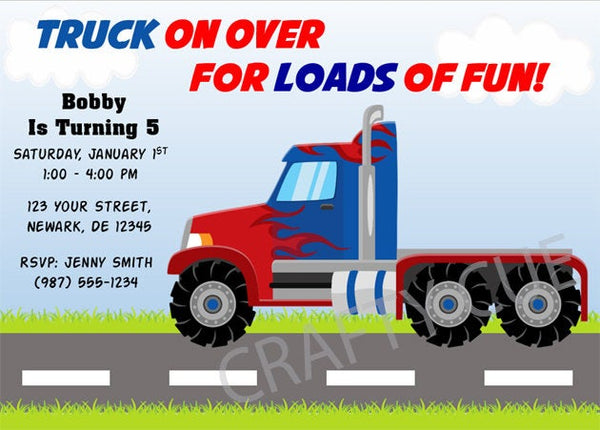 Semi Truck Birthday Invitation - Semi Truck Party Invitation - Semi Truck Invitation - Semi Truck Invite