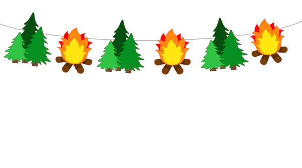 Fire Garland, Camping Garland, Camp Fire Garland, Camping Banner, Camping Decorations, Camping Photo, Pine Tree Garland Prop