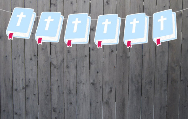 BIBLE Garlad, Baptism, Communion, First Communion, Nursery Banner, photo prop, Christening Banner, Christening Decorations